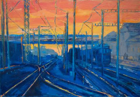 """At the railway station"" by Vartan Markarian – 140x100cm 2015"